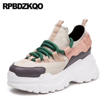 Muffin Platform Sneakers Thick Sole Wide Fit Shoes Ladies Trainers Harajuku Lace Up Creepers Wedge Elevator Women Breathable sneakers