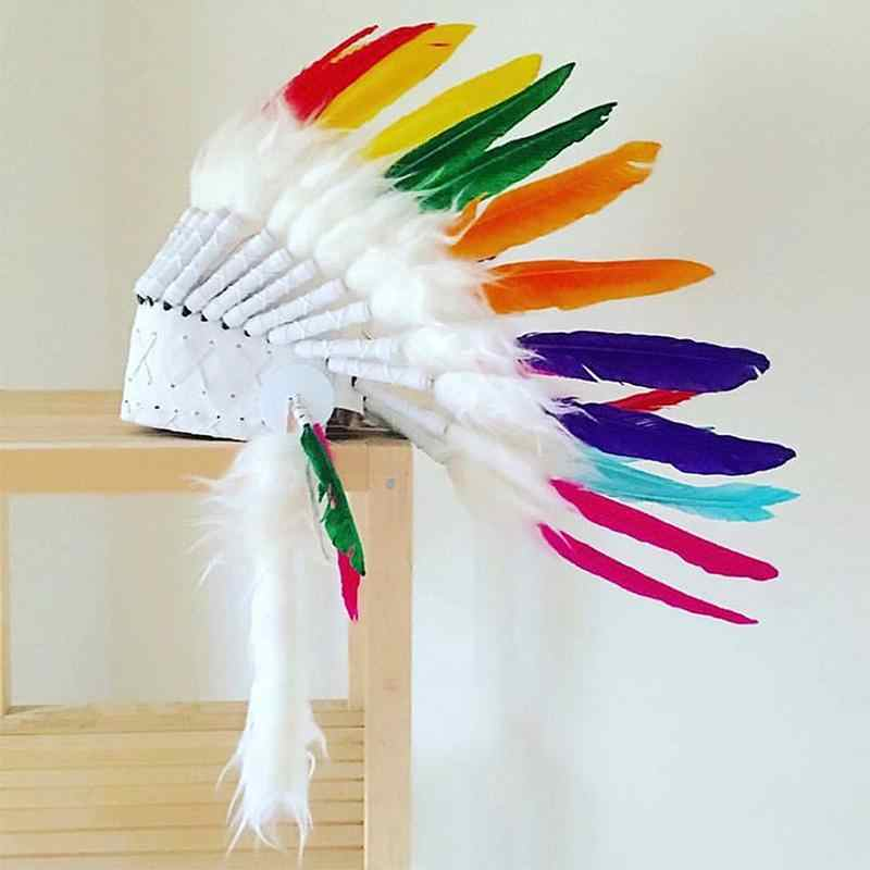 90d3d9212 ... 2 color Indian feather Headdress Native American headdress indian  feather costumes War Bonnet Hat indian headdress ...