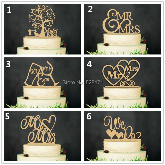 Us 23 74 5 Off 6pcs Lot Eco Friendly We Do Mr Mrs Wooden Wedding Cake Topper Rustic Wedding Cake Stand Natural Wood Cake Toppers Supplies In
