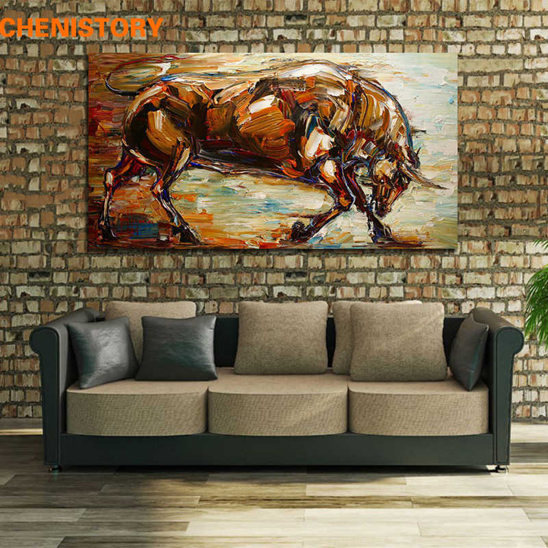 Unframed Abstract Strong  Bull Oil Painting 100% Hand-Painted Wall Art Picture Room Decoration Handmade Painting Home Artwork