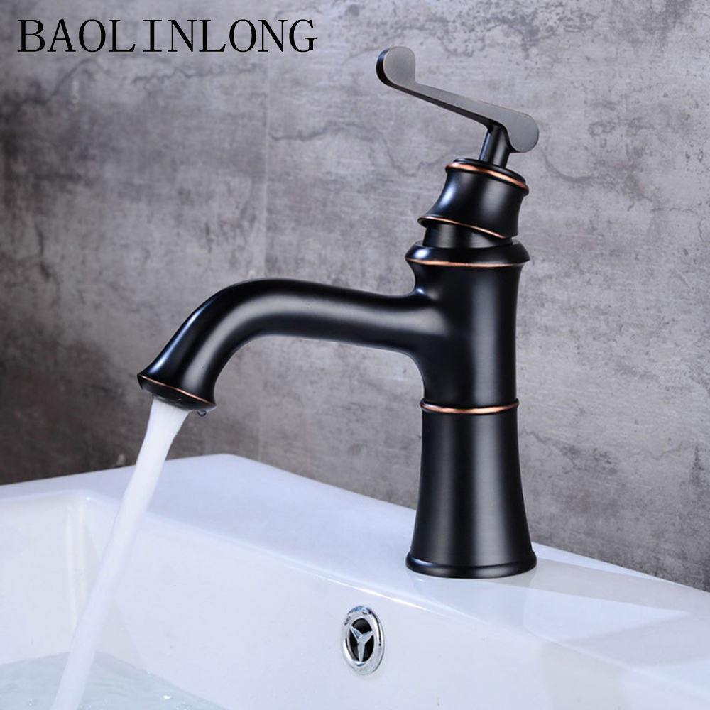 BAOLINLONG Antique Brass Basin Deck Mount Bathroom Faucets Vanity Vessel Sinks Mixer Faucet Tap