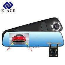 E-ACE Full HD 1080 P Cámara Del Coche Dvr Con Espejo de Doble Lente Grabador de vídeo Dvr y cámara de Visión Trasera 10 Led de Visión Nocturna Dash Cam