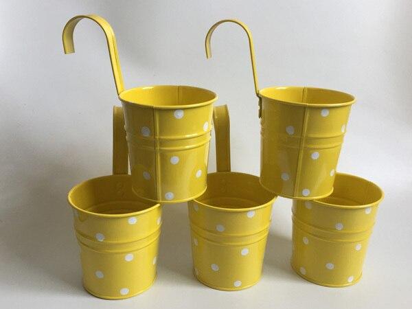 10 pièces/lot paniers suspendus D9.5XH17CM pots en fer pour jardin denfants balcon suspendu Pot paniers en métal Dot design coloré