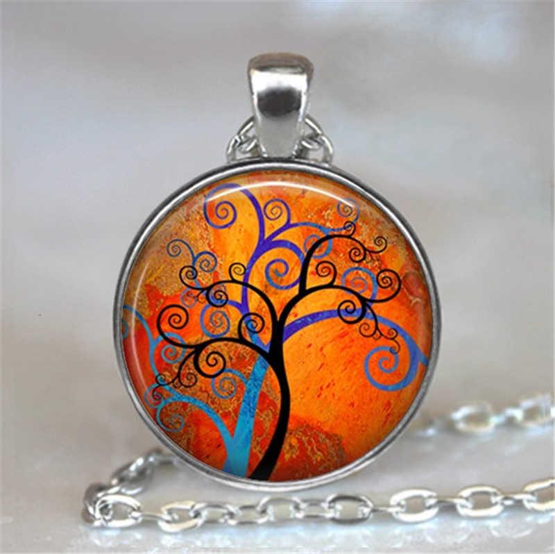 شجرة الحياة الزجاج كابوشون بيان قلادة و قلادة مجوهرات Vintage سلسلة فضية المختنق قلادة للنساء