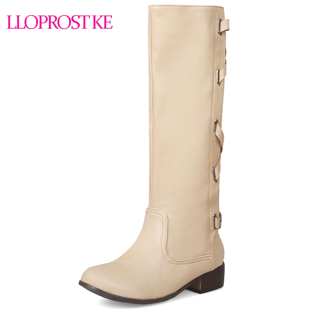 Lloprost ke Winter Occident Cross Strap Buckle Gladiator Mid Calf Knight Boots Chunky Heel Ladies Riding Boots Shoes Brown D605