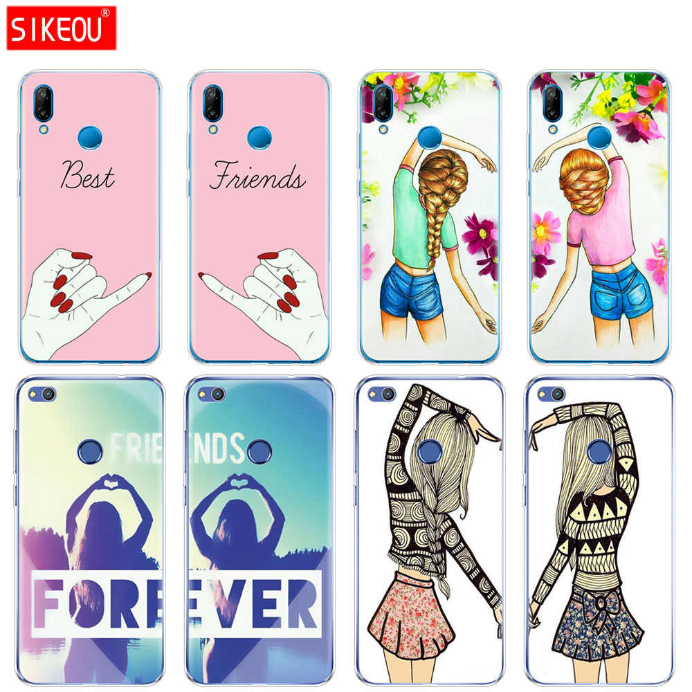 Silicone Cover Phone Case For Huawei P20 P7 P8 P9 P10 Lite Plus Pro 2017 P Smart 2018 best friend couple