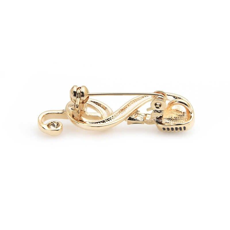 Женская/мужская брошь из сплава Wuli&baby, брошка в форме скрипичного ключа с микрофоном, золотого цвета, подарок на новый год