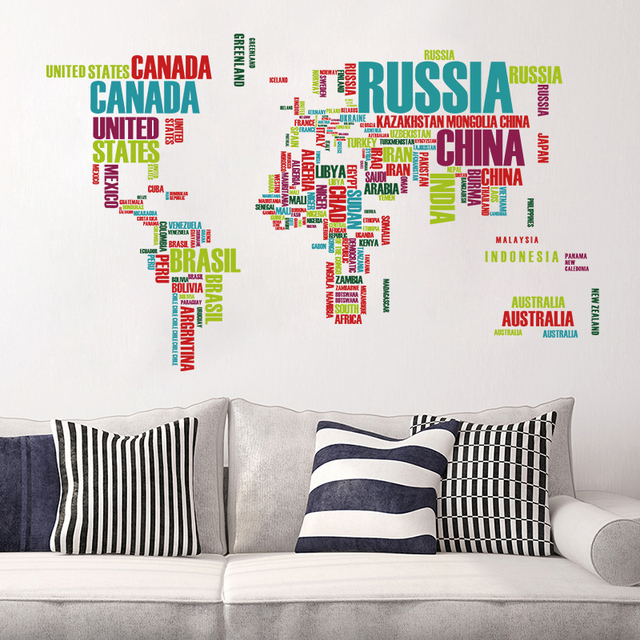 Colorful World Map Wall Sticker Home Decoration Vinyl Decal Stickers ...