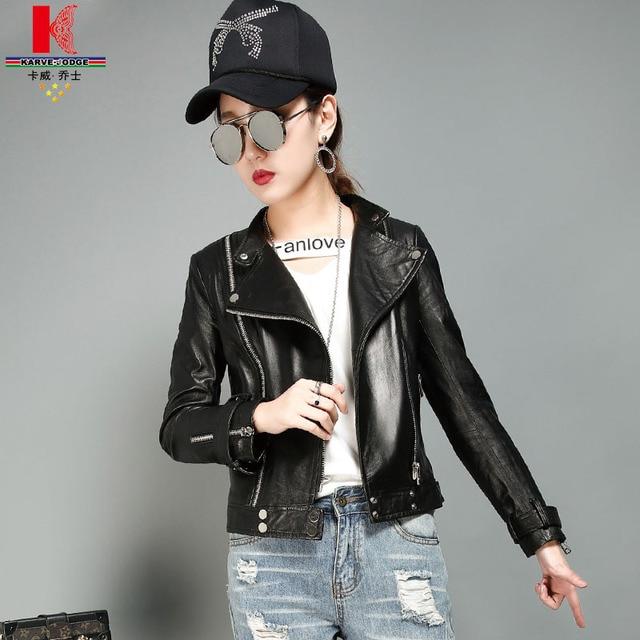 Leather Jackets Women Black Sheepskin Fashion Zipper Nice Parka Branded Bomber Discount Short Streetwear Embroidery Autumn Coats