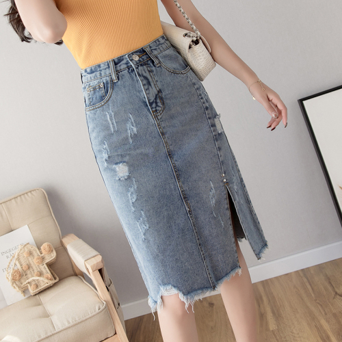 Summer New Ripped <font><b>Denim</b></font> <font><b>Skirt</b></font> Knee-length Open Side Split Womens <font><b>Denim</b></font> <font><b>Skirts</b></font> <font><b>High</b></font> <font><b>Waist</b></font> <font><b>Jeans</b></font> <font><b>Skirt</b></font> Tassel Wrap <font><b>Skirts</b></font> image