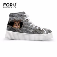 FORUDESIGNS Platform Shoes Woman 3D Cute Animal Ferret Cat Print Women High Top Casual Shoes Autumn Female Creepers Shoes Flats