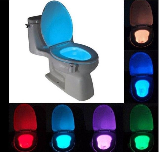Luz conduzida da noite pir sensor de movimento 8 cores mudança automática luz do toalete