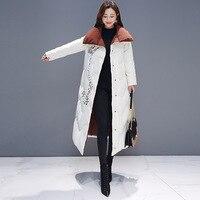 2019 винтажное длинное теплое зимнее пальто с вышивкой женская одежда плюс размер отложной воротник более Размер Хлопковая стеганая куртка