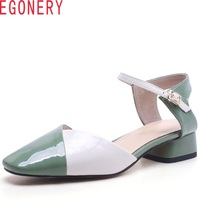 EGONERY 2018 Summer New Women Colorblock Pumps Med Square Heels Square Head Buckle Fashion Casual Cow