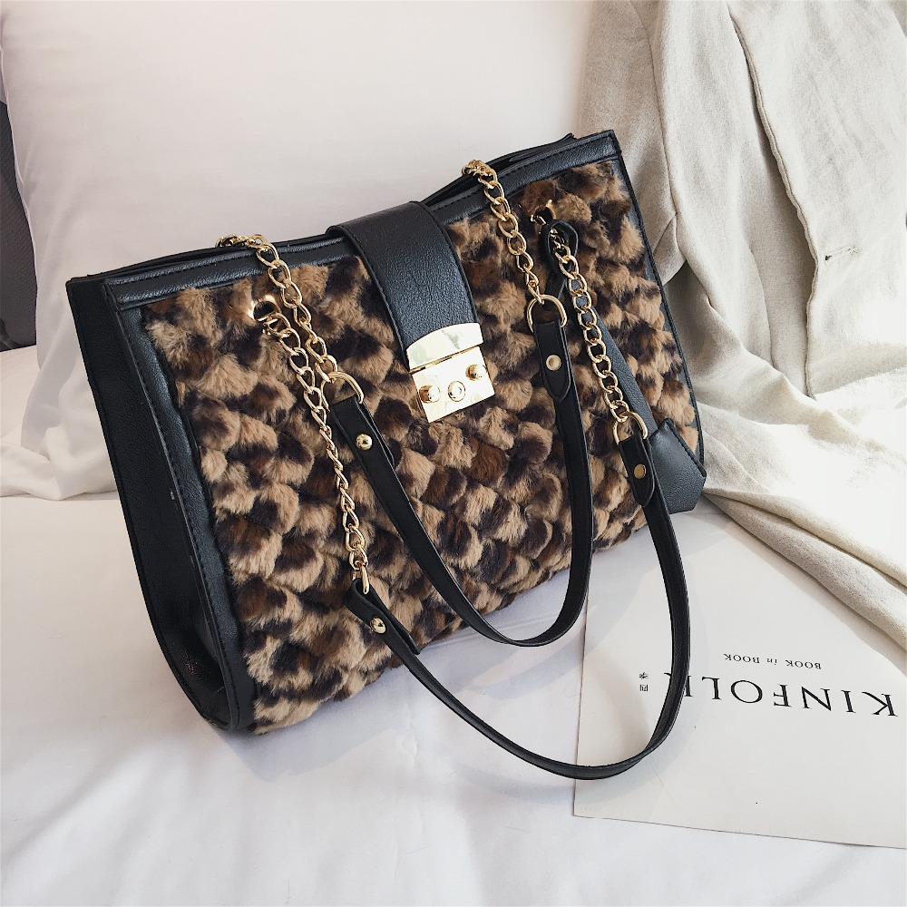 252c19469ec Detail Feedback Questions about Quilted Chain Shoulder Bags For Women 2019  Female Plush Leopard Handbags Ladies Faux Fur Tote Hand Bag Woman Winter  Bags on ...