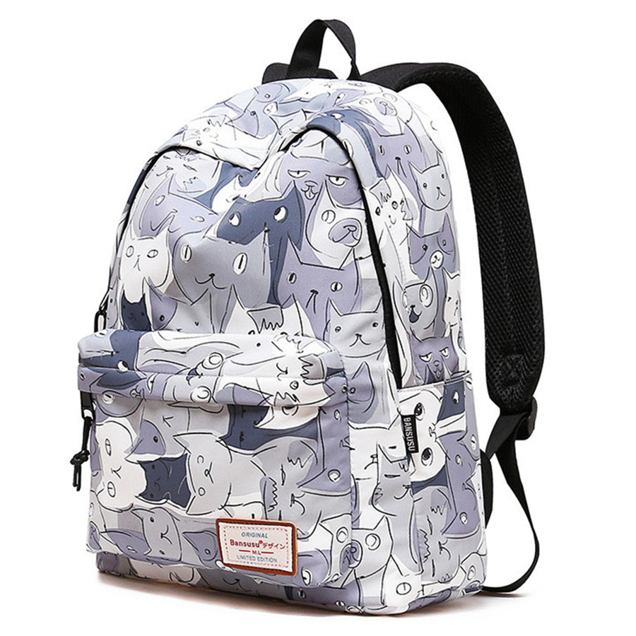 Famous Brand Women's Waterproof Backpacks Cat Cartoon Printing Schoolbags For Girl's Children Travel Bags School Bag Hot Sale