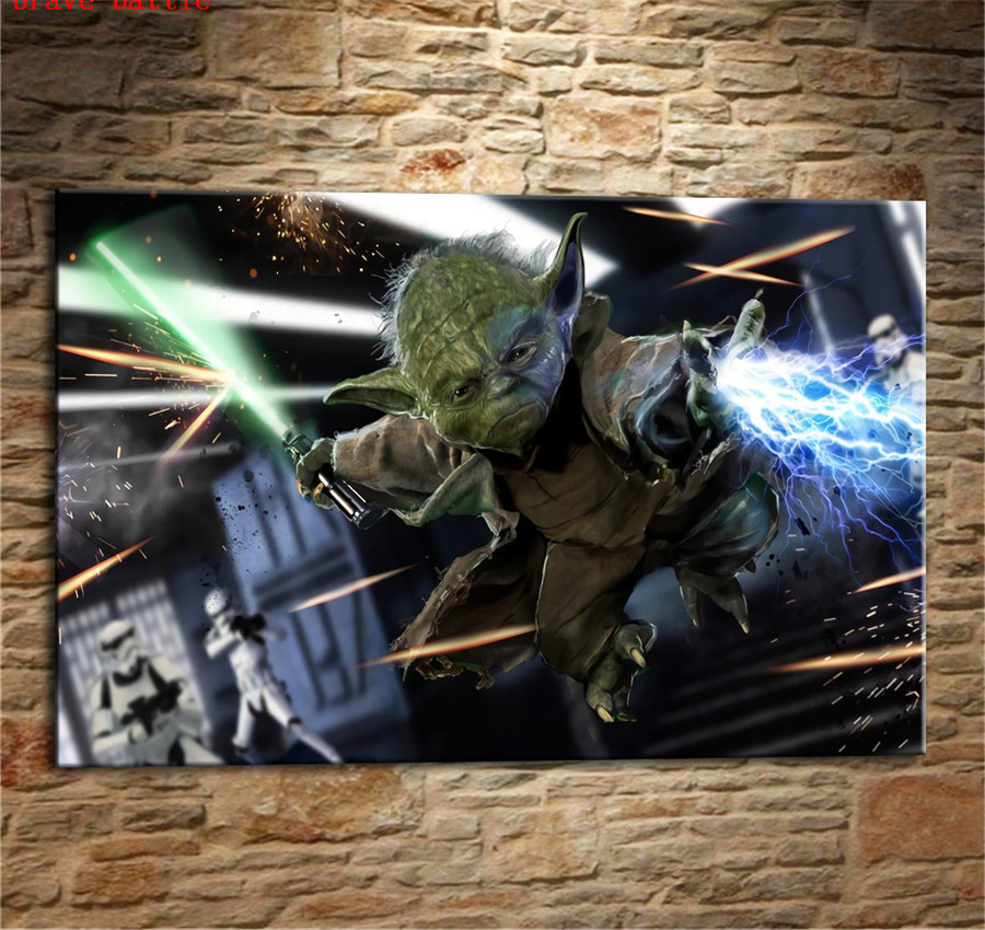 Yoda with Lightsaber Star Wars Canvas Painting Print Living Room Home Decor Modern Wall Art Oil Painting Poster