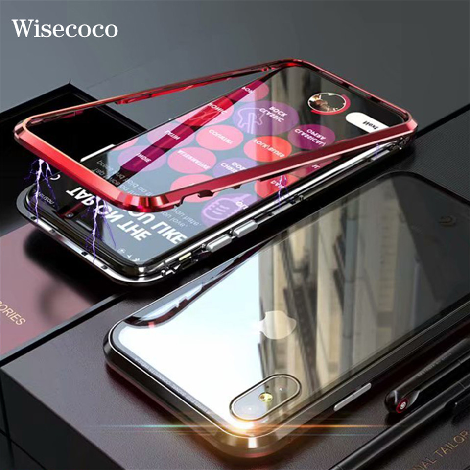 For iPhone X Magnetic Adsorption Case iPhoneX 10 Luxury Ultra Magnet Metal Clear Tempered Glass Mobile Phone Cover For iPhone X