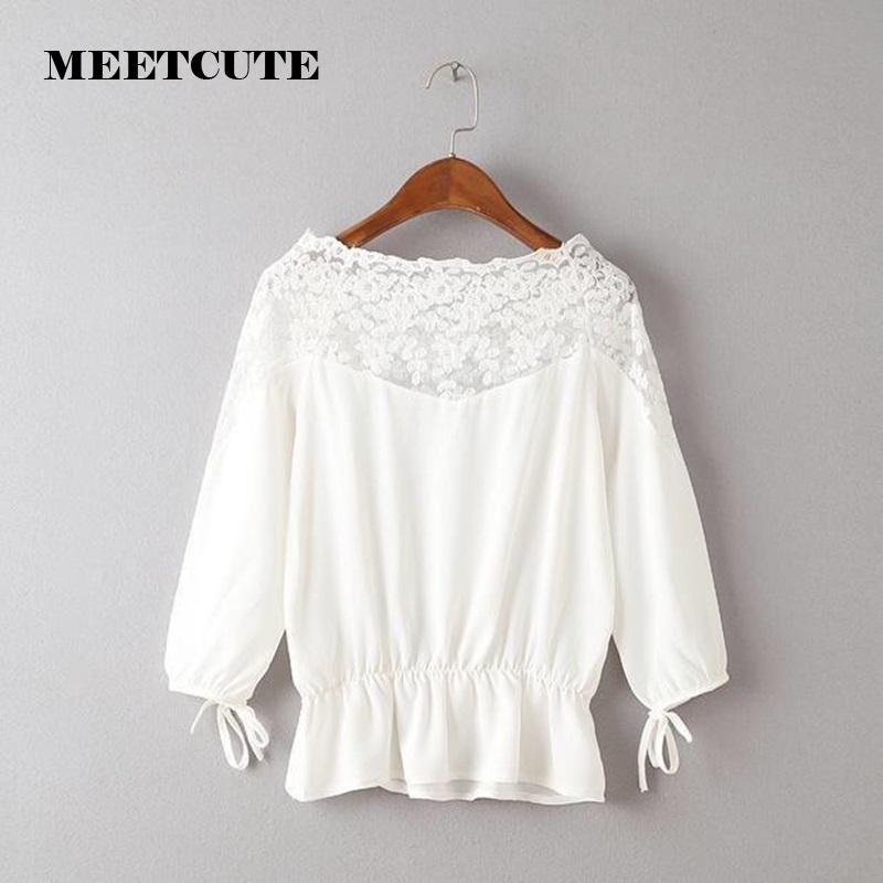 MEETCUTE New Cute Solid Color Chiffon Long Sleeve Maternity Blouse Unique Lace Shoulder Design Casual Tops for Pregnant Women