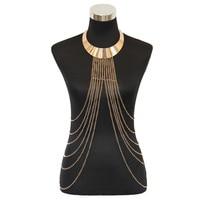 Gold Tone Choker Necklace with Fine Chain Body Chain Bikini Summer New Arrival