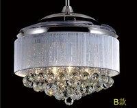 42inch ABS transparent ceiling fan lights restaurant Crystal fan lamp ceiling fan luxury living room folding fan light