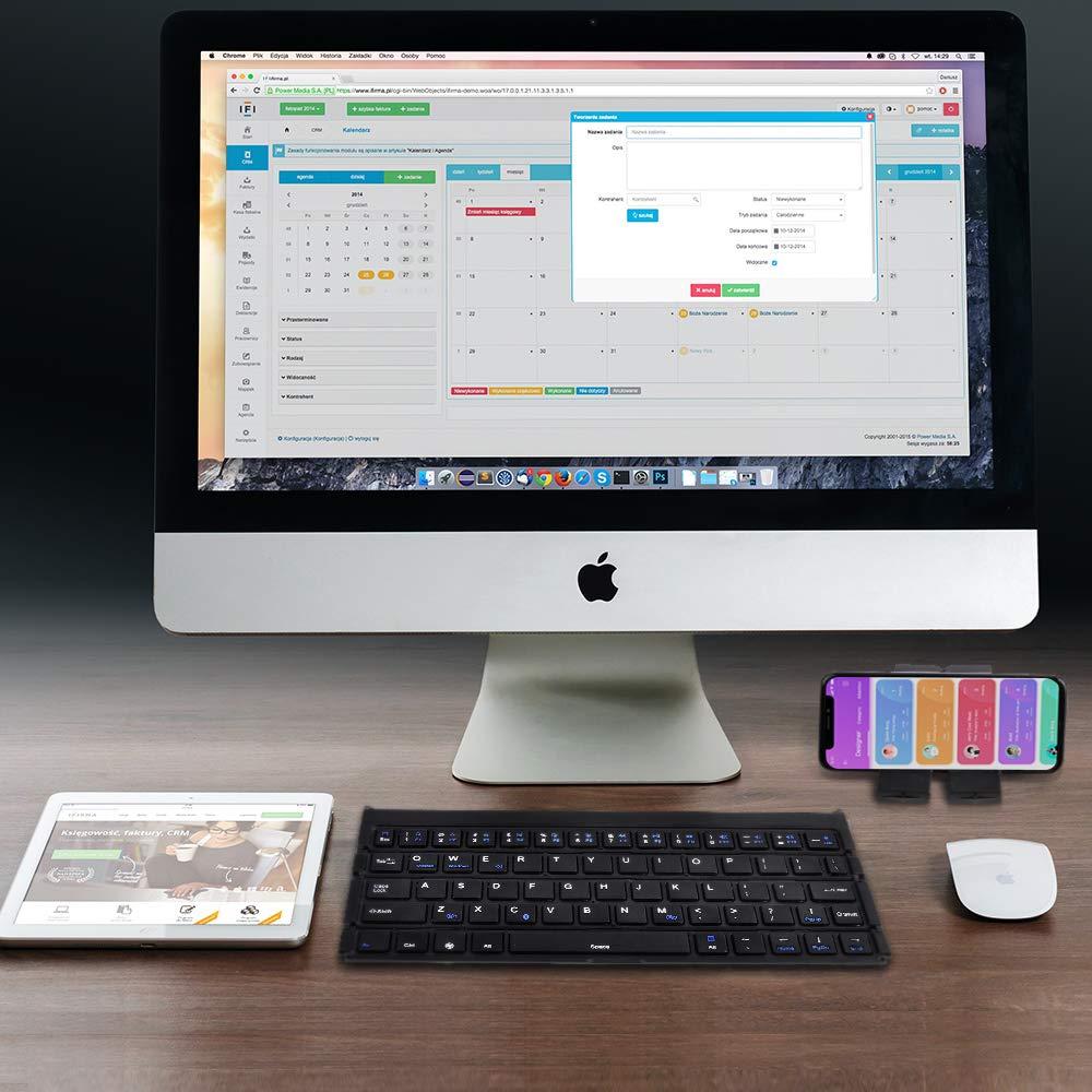 Fanshu Slim Folding Bluetooth Wireless GK808 Tablet Phone Mini Keyboard 64 Keys for iphone ipad Samsung With Cellphone Stand