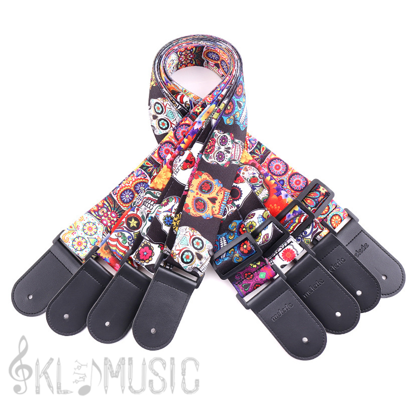 2019 Latest Design Leather Nylon Fluorescent Printed Guitar Strap General Supply For Folk Guitar, Electric Guitar, Acoustic Guitar, Bass Guitar