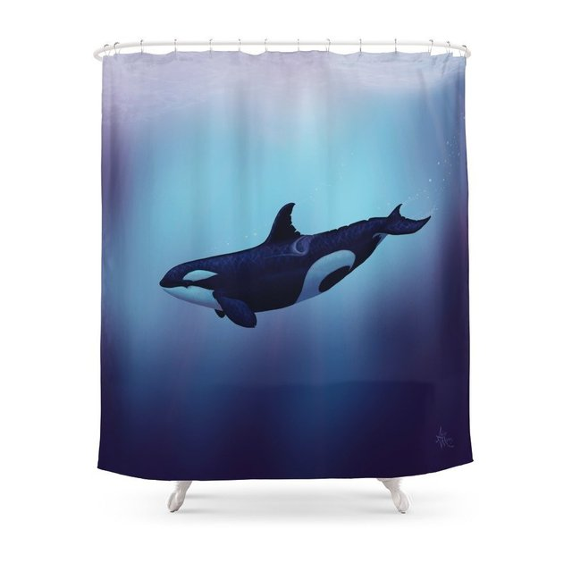 Lost In Fantasy Orca Killer Whale Art By Amber Marine Shower Curtain Waterproof Bathroom Polyester Fabric