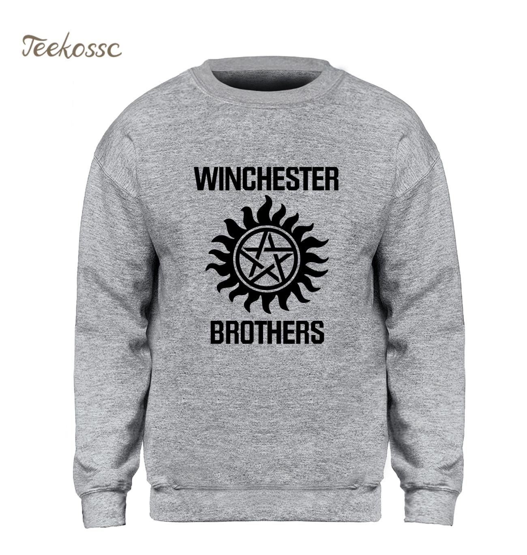Supernatural Sweatshirt Men Winchester Brother Hoodie Casual Crewneck Sweatshirts 2018 Winter Autumn Fleece Warm Brand Clothing