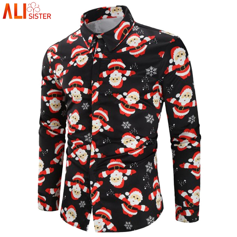 Alisister Long Sleeve Shirt Men Casual Clothing Snowman Printed Christmas Party Funny Slim Top Blouse Male Shirt Plus Size S-3XL