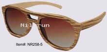 pilot style thin light zebra veneer wood sunglasses for fishing, driving or traveling
