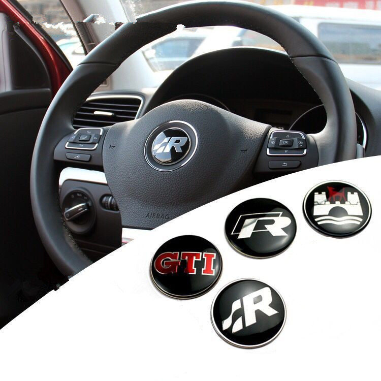 GTI Wolfsburg R logo Steering Wheel Badge Emblem Sticker For VW Golf 4 5 6 7 MK4 R32 Polo Auto Accessories Car Styling waterproof rubber hk right hand steering wheel car floor mats for volkswagengolf 5 6 scirocco with gti tsi r r golf logo