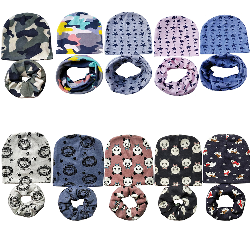 Wholesale 10 set/lot Animal Camo Print Crochet Children Hats Boys Girls   Skullies     Beanies   Cap Scarf Collar Kids Hat Scarf Set