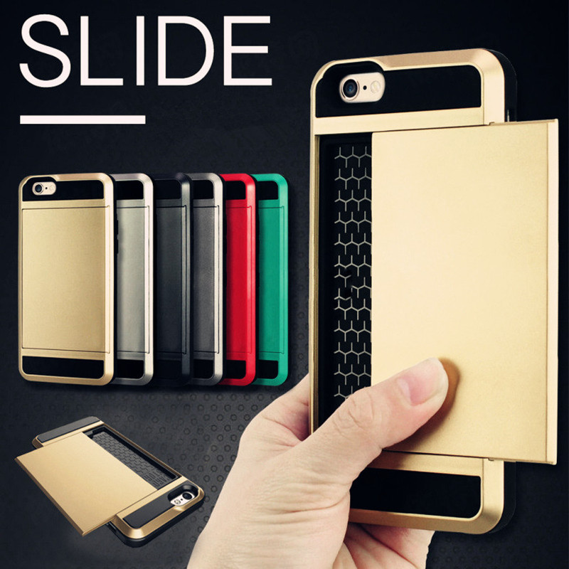New Hybrid Tough Card Storage Armor Case For Apple iphone