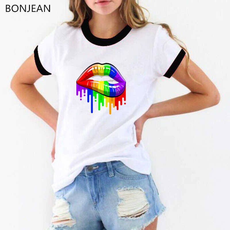 Trots Lgbt Homo Liefde Lesbische Regenboog Lip Ontwerp Afdrukken T-shirts voor Vrouwen vogue t-shirt Liefde Tee Shirt femme Zomer kleding