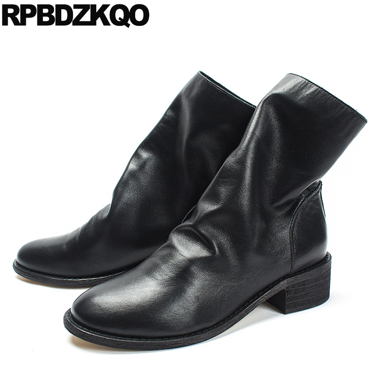 Shoes Fur Brand Women Winter Boots Genuine Leather Elegant Black Ankle Round Toe Vintage Trend Autumn Chunky Female Short New 2017 new genuine leather elastic band chunky women ankle boot casual round toe anti skid spring autumn flat short boots zy170919