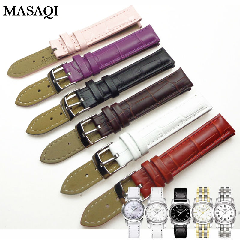 MASAQI Women Watch Band For Tissot 1853 T033410 Genuine Leather 14MM Watch Straps High Quality Leather Watchbands genuine leather watchbands for tissot mido lv dior for 1853 t050 waterproof men women buckle strap watch strap fits all brand