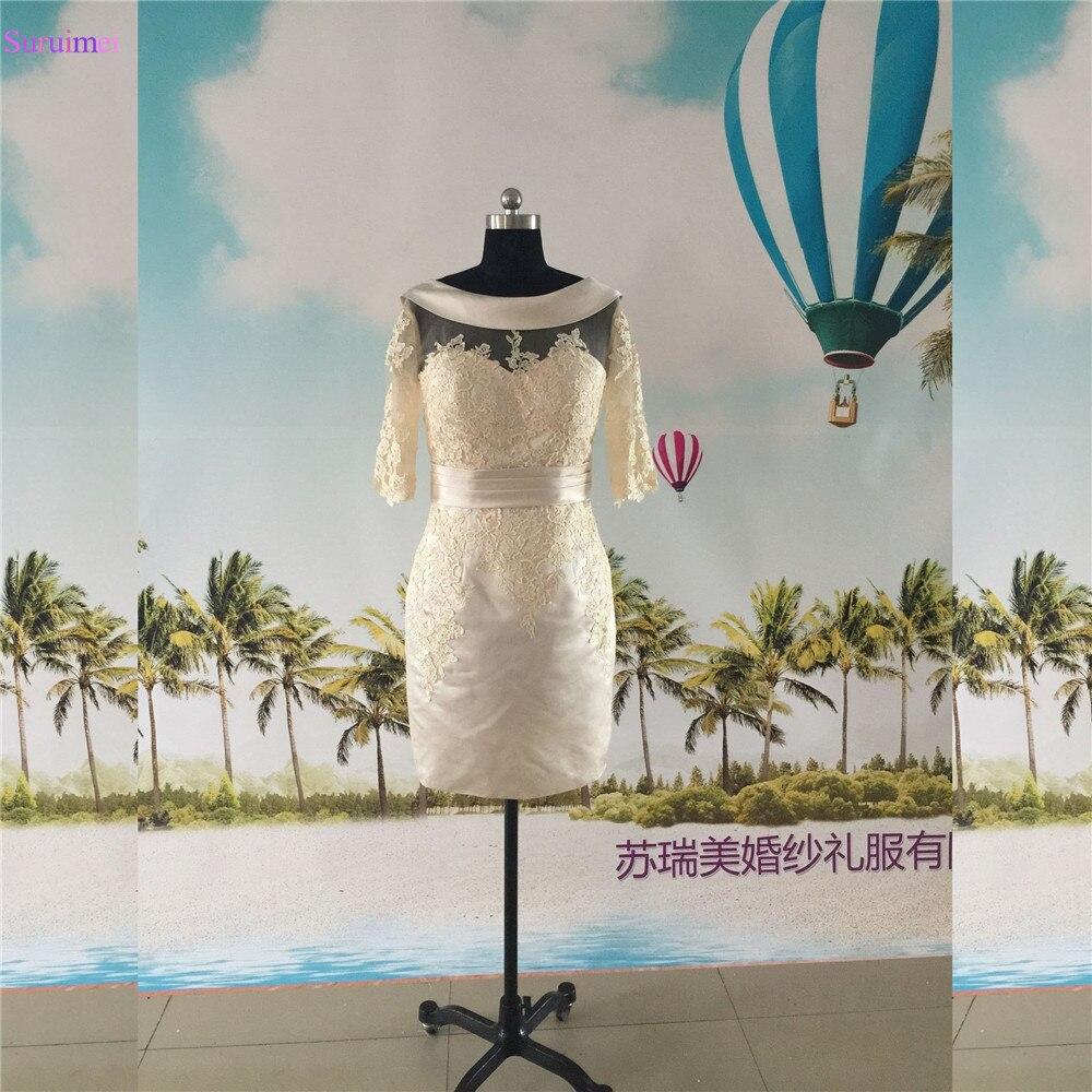 Robe droite mère de la mariée manches longues V dos Satin dentelle Applique V dos Semi formelle robe de mariage événement