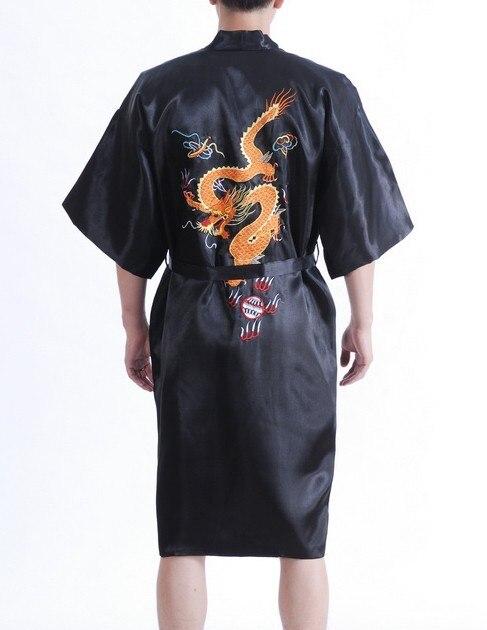 Вышивка дракон черный традиционная китайская мужская одежда шелковый атлас пижамы кимоно юката ванна платье размер sml XL XXL MR003