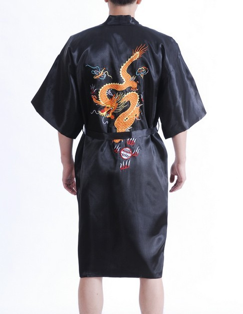 Embroidery Dragon Black Traditional Chinese Men's Robe Silk Satin Sleepwear Kimono Yukata Bath Gown Size S M L XL XXL MR003