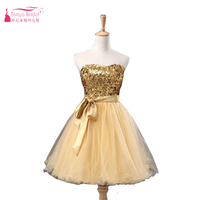 Sequined Gold Homecoming Dresses Short TuTu skirts Prom Party cocktail Dress Graduation Dress quinceanera 2016 dress Z261