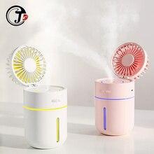 Ventilador con batería de 2000 mAh y humidificador de aire, difusor de aceites esenciales con USB, 7 luces de noche de Color, ventilador de mesa portátil, 400ML