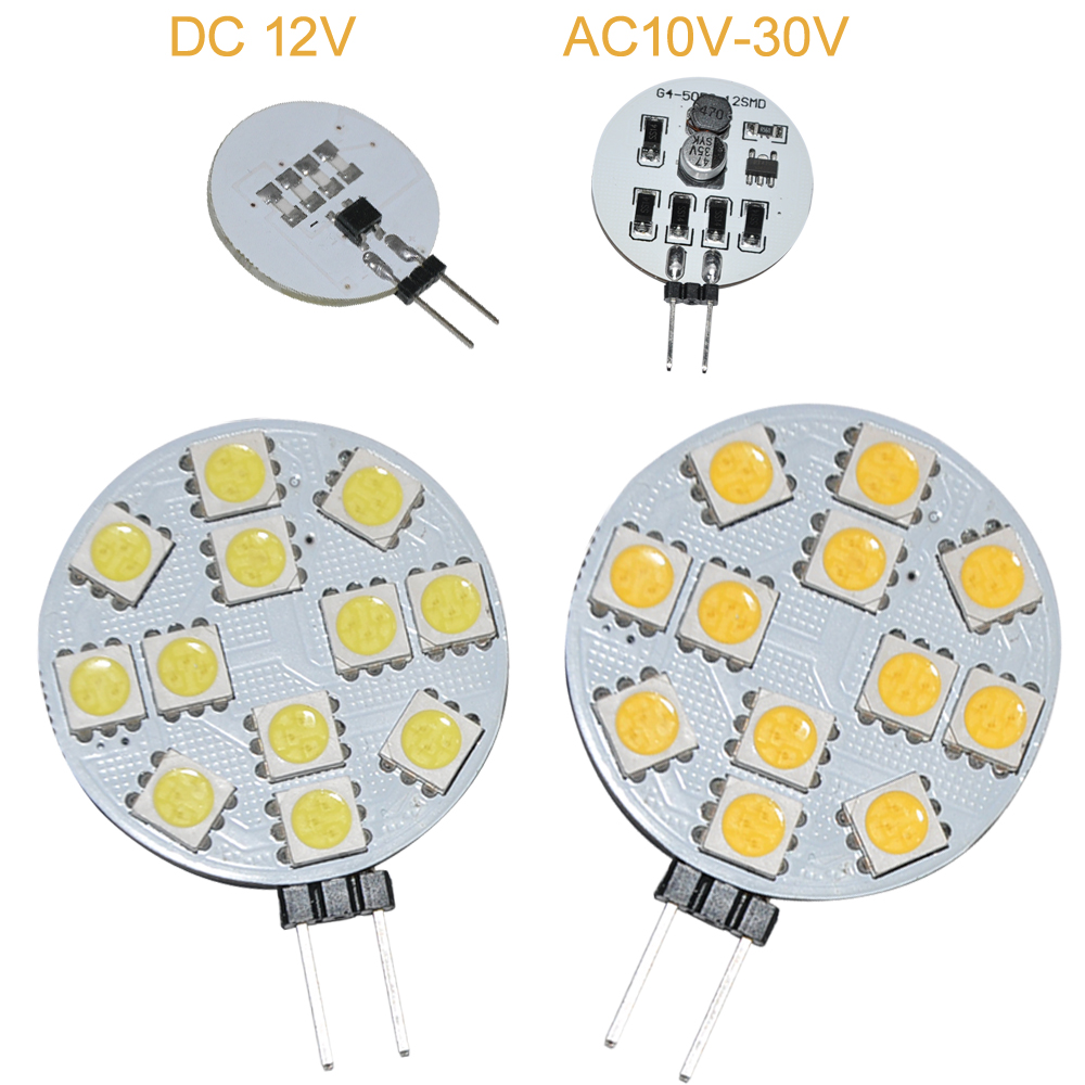 JYL 2pcs G4 12 5050-LED 12V 24V AC DC 2W Marine Cabinet Spot Yacht Light Lamp RV 180LM White Warm White