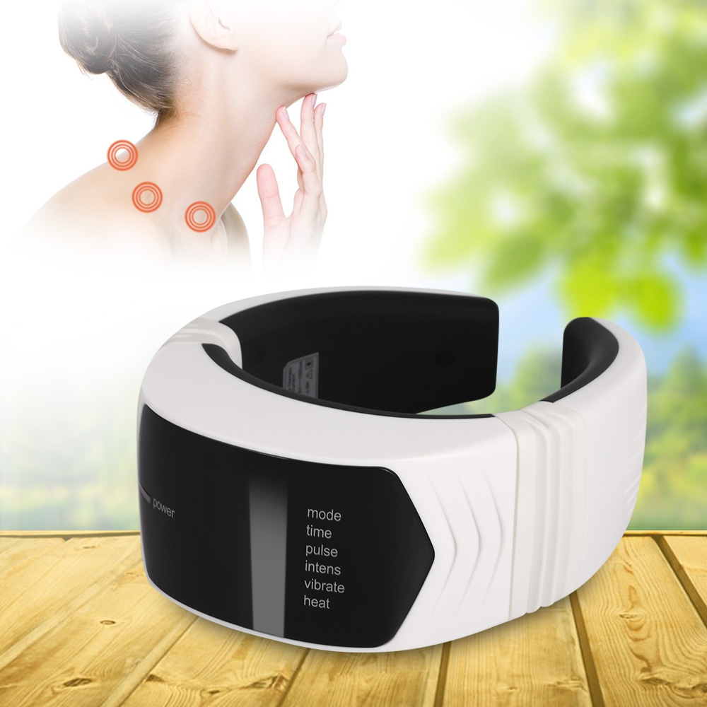 Wireless Remote Control Cervical Neck Massager Electric Pulse Far Infrared Heat Magnetic Therapy Neck Massage Device Health Care wireless remote control neck massager acupuncture magnetic cervical therapy cervical vertebra treatment instrument health care
