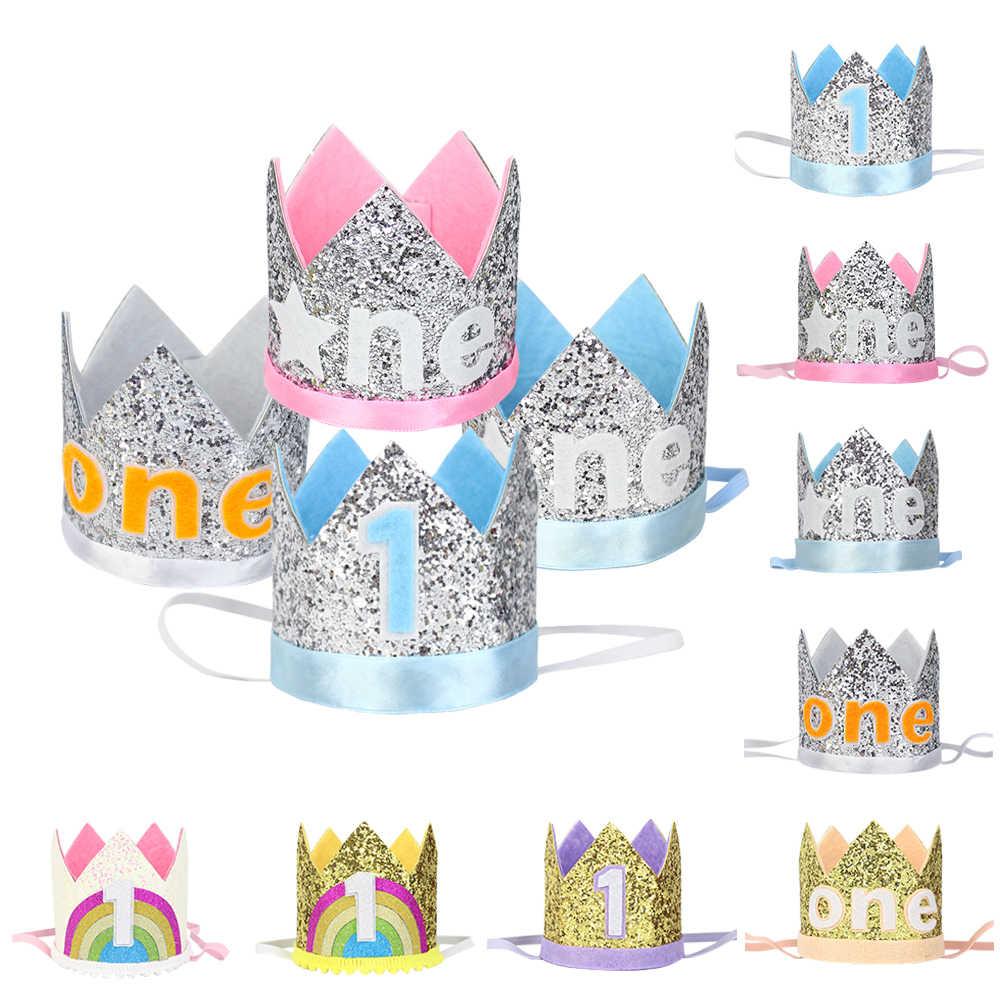 ... sobre Feliz 1st cumpleaños sombreros brillo sombrero primera corona de  cumpleaños niños y niñas un año viejo sombrero de fiesta pelo de Niños de  bebé ... ee933eda07f
