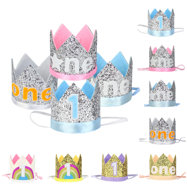 Happy 1st Birthday Hats Glitter Hat First Crown Boys And Girls One Year Old Party Baby Kids Hair Accessory