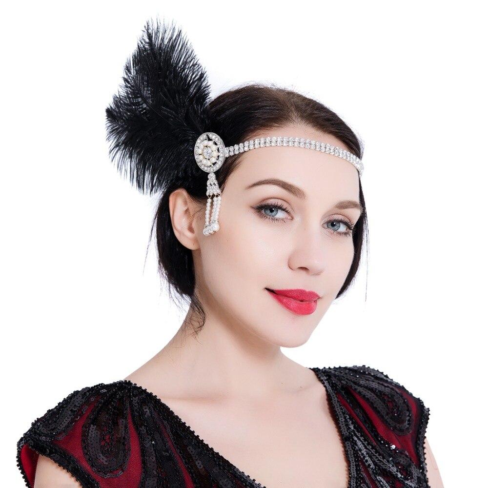 Headband Do Cabelo do vintage 1920 s Grande Gatsby Flapper Headpiece Fascinator Elegante Acessório de Cabelo Das Mulheres para Cocktail 20 s Costume