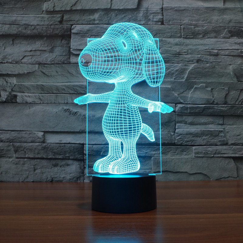 new dog 3D lights colorful touch LED visual light gift decorative lamp