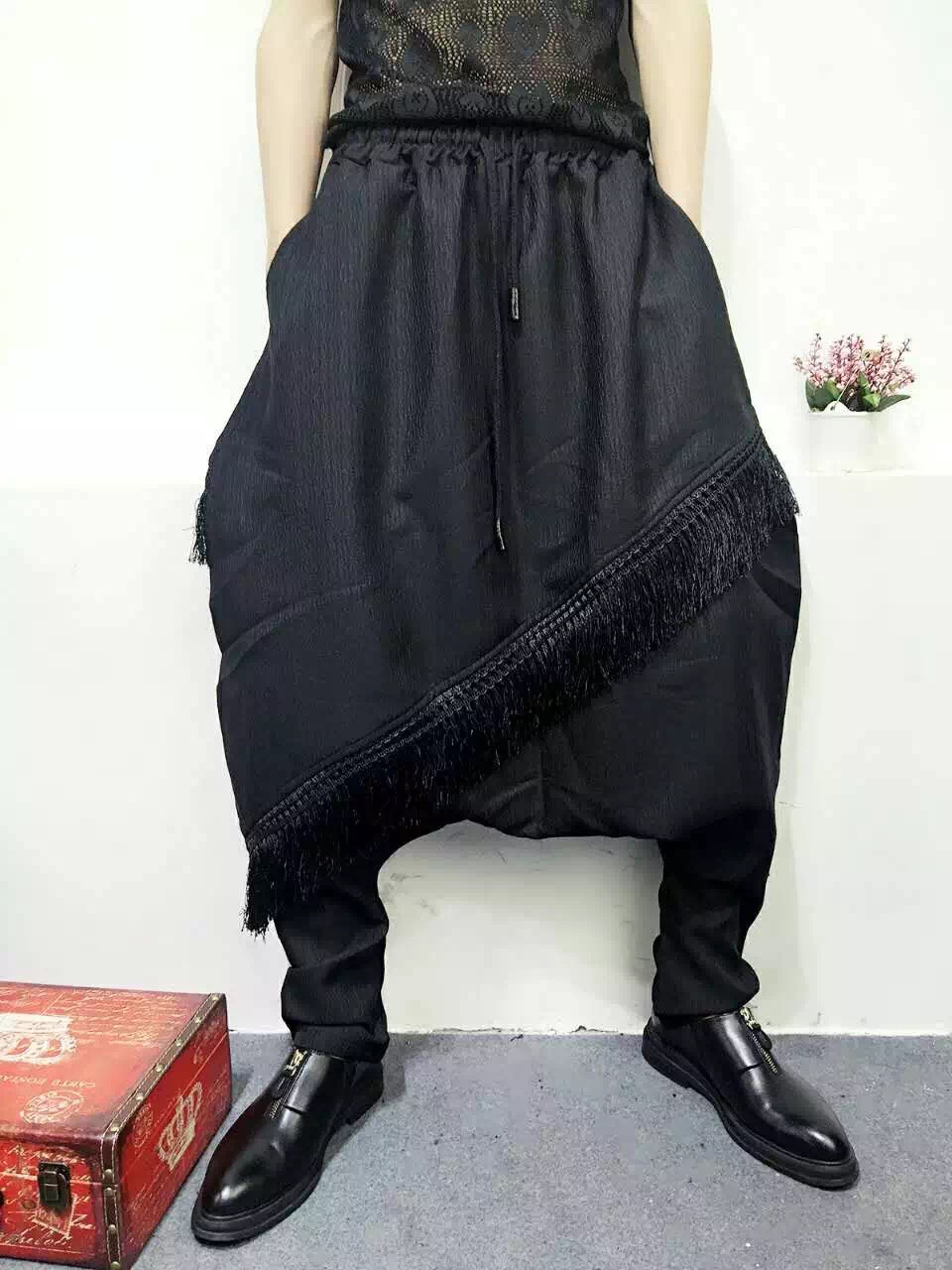 Calle Negro Goth Plus Hip Harem 2019 Tamaño Falda Pantalones Personalidad Hop Las Mujeres La De Gota Fondo BqxXqd