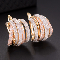 GODKI 25mm Luxury Twist Braided Lines Colorful Full Mirco Pink Cubic Zirconia Setting European Wedding Earring